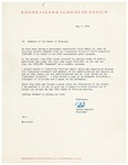 President Rantoul Letter to Trustees Regarding Concerned Students May 7, 1970 by Talbot Rantoul and RISD Archives
