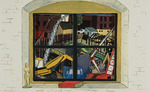 """Tunnel Vision: the big dig view from my studio window on the corner of """"A"""" and Wormwood Streets in Boston, MA"""