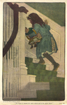 """""""She began to mount the stairs which led to the upper floors"""" from """"In the Closed Room"""" by F.H. Burnett by Fleet Library, Visual + Material Resources, and Jessie Willcox Smith"""