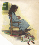 """""""She often sat curving her small long fingers backward and talking to herself about Aunt Hester"""" from """"In the Closed Room"""" by F. H. Burnett by Fleet Library, Visual + Material Resources, and Jessie Willcox Smith"""