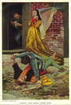 """""""Suddenly their comedy turned tragic"""", from """"The Noble Family of Beaupertuys"""" by Stephen French Whitman by Fleet Library, Visual + Material Resources, and Howard Pyle"""