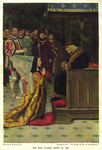 """""""The King glared down at her"""", from """"The Noble Family of Beaupertuys"""" by Stephen French Whitman by Fleet Library, Visual + Material Resources, and Howard Pyle"""