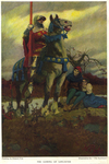"""The Coming of Lancaster, illustration for """"The Scabbard"""" by James Branch Cabell by Fleet Library, Visual + Material Resources, and Howard Pyle"""