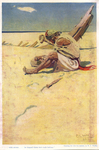 """""""...with stones...he shaped them into rude knives."""", painting for """"The Buccaneers"""" by Fleet Library, Visual + Material Resources, and N. C. Wyeth"""