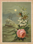 Untitled (Ship at sea with floral overlay)