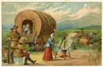 Untitled (Covered wagon with people, livestock) by John Henry Bufford