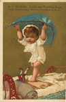Untitled (baby holding blue sheet above)
