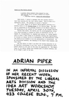 Adrian Piper: In an Informal Discussion of Her Recent Work by Robert Horvitz and Adrian Piper