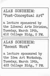 """Alan Sondheim: """"Post-Conceptual Art""""; Alan Sondheim: """"Recent Work"""" by Robert Horvitz"""