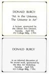 "Donald Burgy: ""Art in the Universe, The Universe in Art""; Donald Burgy in an informal discussion of his recent work by Robert Horvitz"