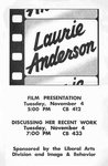 Laurie Anderson: Film Presenation, Discussing Her Recent Work