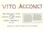 Vito Acconci: Video Presentation and Lecture, Discussion of Current Projects by Robert Horvitz